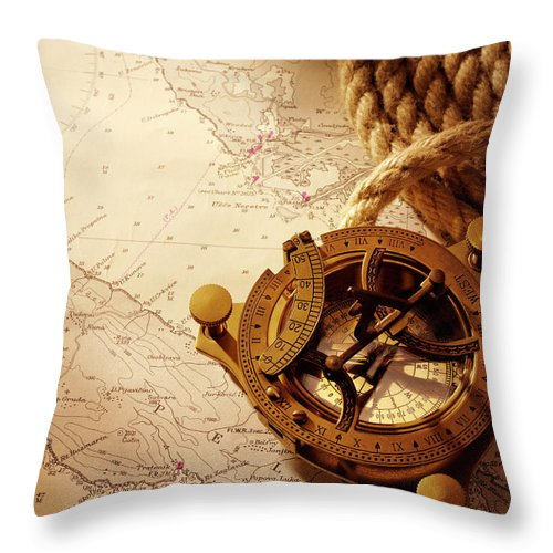 Rope Throw Pillow featuring the photograph Coiled Rope And Nautical Chart With A by Wragg