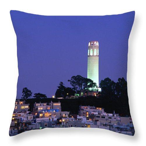 San Francisco Throw Pillow featuring the photograph Coit Tower, Telegraph Hill At Dusk, San by Thomas Winz