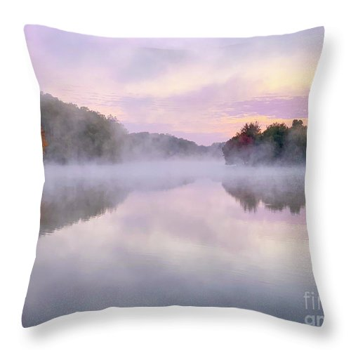 Landscape Throw Pillow featuring the photograph Cold Autumn Morning By A Lake by Izet Kapetanovic