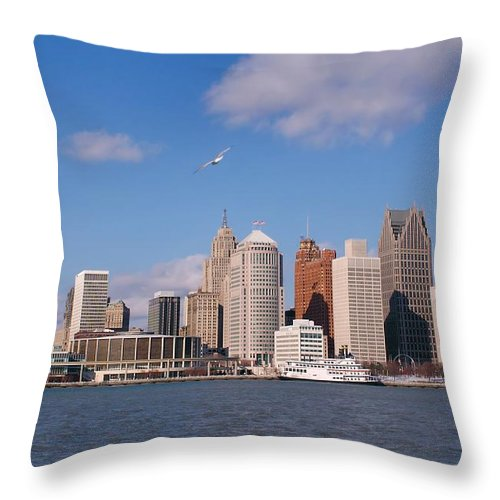 Downtown District Throw Pillow featuring the photograph Cold Detroit by Corfoto