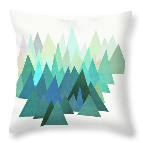 Mountains Throw Pillow featuring the mixed media Cold Mountain by Cassia Beck