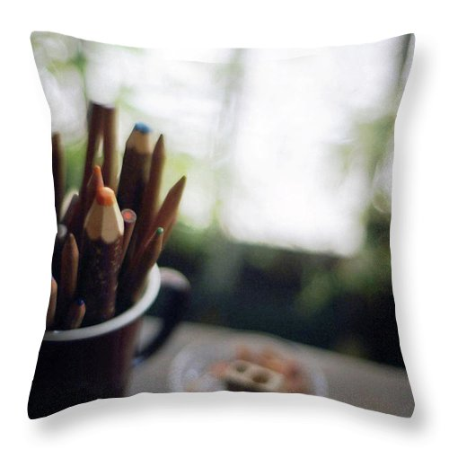 Osaka Prefecture Throw Pillow featuring the photograph Color Pencils by K-ko