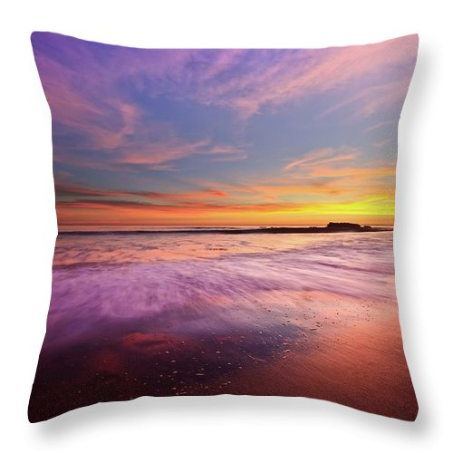Scenics Throw Pillow featuring the photograph Color Splash At Sunset, Laguna Beach by Eric Lo