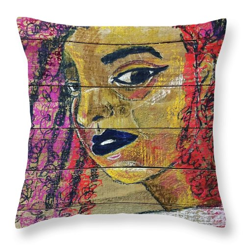 Colors Throw Pillow featuring the drawing Colorful Curls by Che' La'Mora