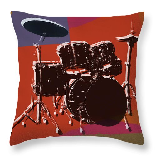 Drum Set Pop Art Throw Pillow featuring the mixed media Colorful Drum Set Pop Art by Dan Sproul