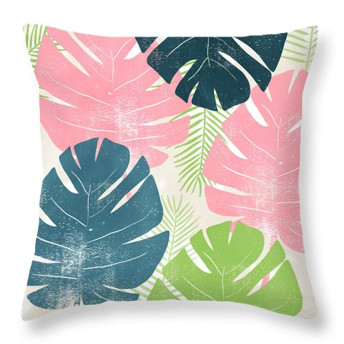 Tropical Throw Pillow featuring the mixed media Colorful Palm Leaves 1- Art By Linda Woods by Linda Woods