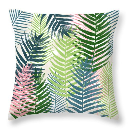 Tropical Throw Pillow featuring the mixed media Colorful Palm Leaves 2- Art by Linda Woods by Linda Woods
