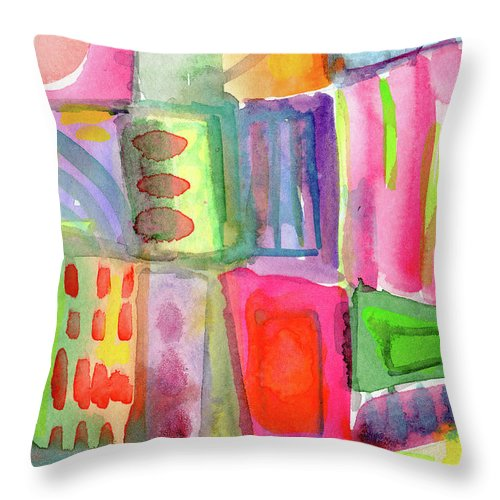 Colorful Throw Pillow featuring the painting Colorful Patchwork 2- Art by Linda Woods by Linda Woods