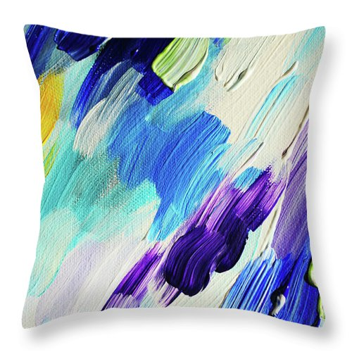 Jenny Rainbow Fine Art Photography Throw Pillow featuring the photograph Colorful Rain Fragment 1. Abstract Painting by Jenny Rainbow