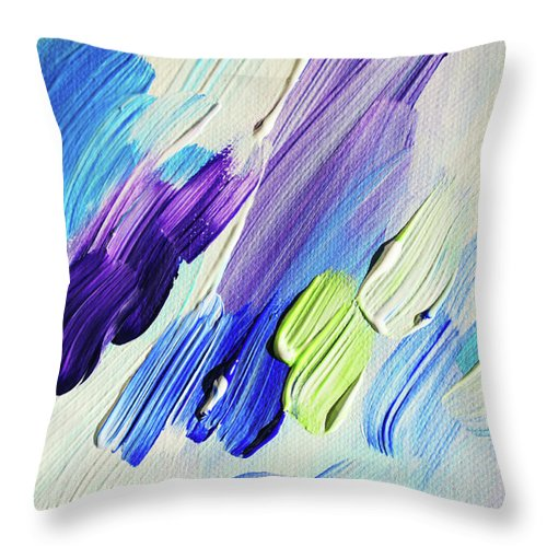 Jenny Rainbow Fine Art Photography Throw Pillow featuring the photograph Colorful Rain Fragment 2. Abstract Painting by Jenny Rainbow