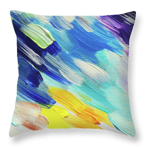 Jenny Rainbow Fine Art Photography Throw Pillow featuring the photograph Colorful Rain Fragment 5. Abstract Painting by Jenny Rainbow