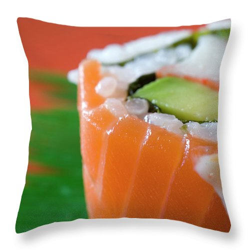 Asian And Indian Ethnicities Throw Pillow featuring the photograph Colorful Sushi by Creativeye99