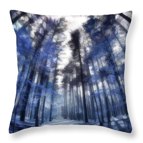 Throw Pillow featuring the digital art Colorful Trees Iv by Tina Baxter