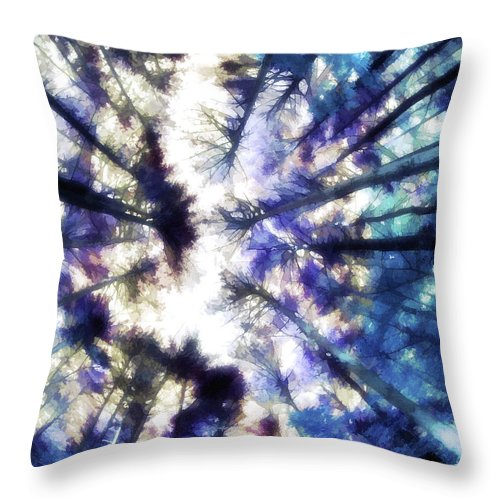 Throw Pillow featuring the digital art Colorful Trees Vi by Tina Baxter