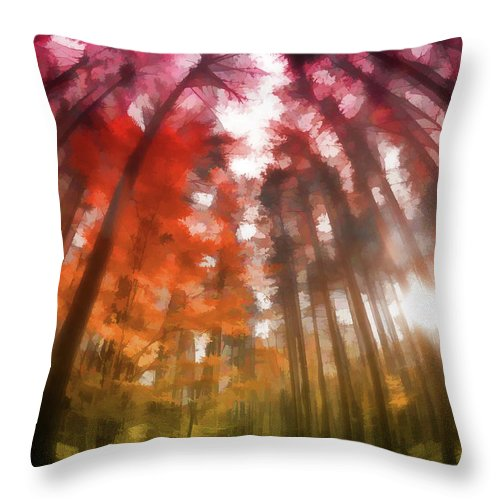 Throw Pillow featuring the digital art Colorful Trees Vii by Tina Baxter