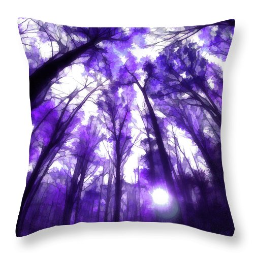 Throw Pillow featuring the digital art Colorful Trees X by Tina Baxter