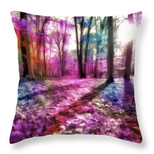 Throw Pillow featuring the digital art Colorful Trees Xii by Tina Baxter