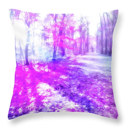 Throw Pillow featuring the digital art Colorful Trees Xv by Tina Baxter