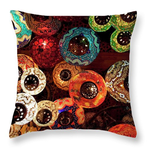 Antique Shop Throw Pillow featuring the photograph Colorful Turkish Lanterns From The by Wldavies