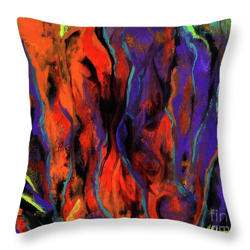 Abstract Throw Pillow featuring the painting Colorful Vision 1 by Marcella Muhammad