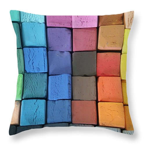 Block Shape Throw Pillow featuring the photograph Coloured Pastels by Mevans