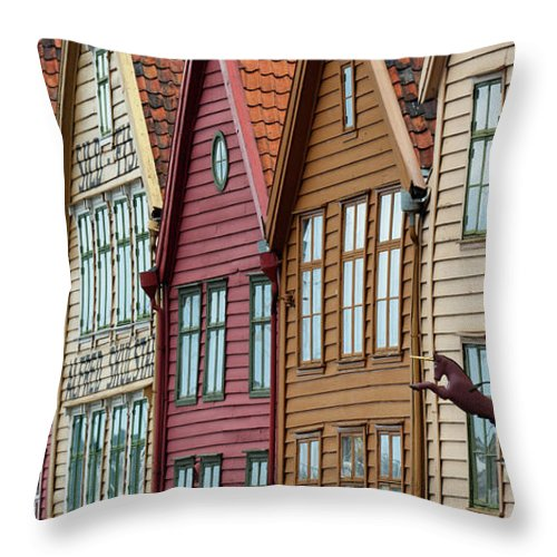 Panoramic Throw Pillow featuring the photograph Colourful Houses In A Row by Keith Levit / Design Pics