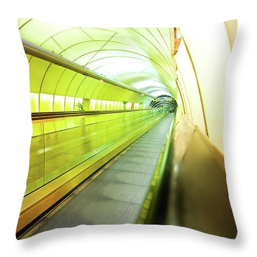 Pedestrian Throw Pillow featuring the photograph Colourful Walkway by Nikada