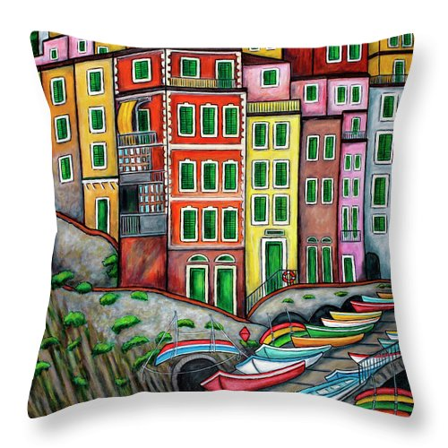 Italy Throw Pillow featuring the painting Colours of Riomaggiore Cinque Terre by Lisa Lorenz