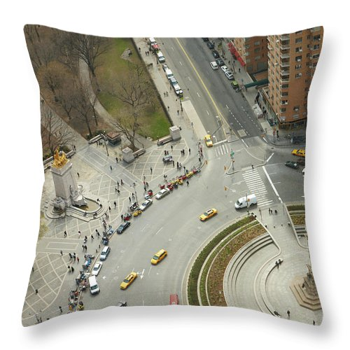 Apartment Throw Pillow featuring the photograph Columbus Circle And Cenral Park by Andy Ryan