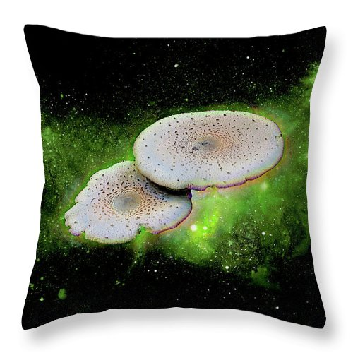 Space Throw Pillow featuring the mixed media Combination Space by Rosalie Scanlon