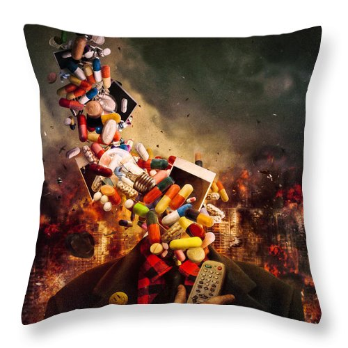 Pink Floyd Throw Pillow featuring the digital art Comfortably Numb by Mario Sanchez Nevado