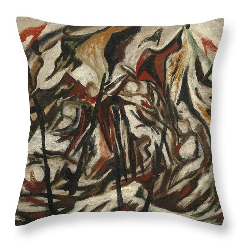Jackson Pollock Throw Pillow featuring the painting Composition With Figures And Banners by Jackson Pollock