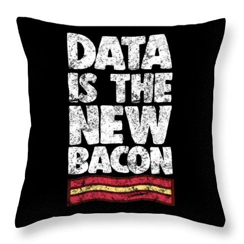 Computer Throw Pillow featuring the digital art Computer Big Data Bacon Geek Pun Apparel by Michael S