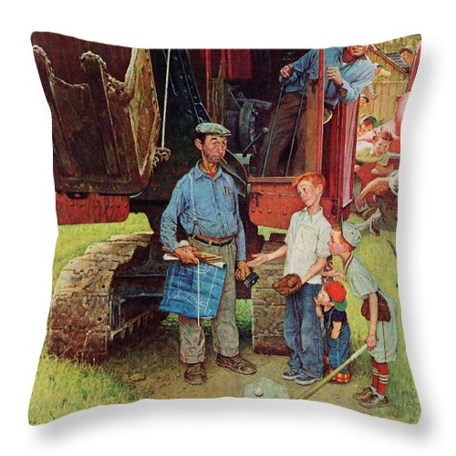 Baseball Throw Pillow featuring the drawing Construction Crew by Norman Rockwell