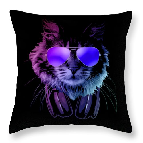 Cat Throw Pillow featuring the digital art Cool DJ Furry Cat In Neon Lights by Filip Schpindel