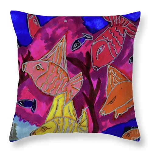Coral Reef Ma Fish Very Bright Colorful Throw Pillow featuring the mixed media Coral Fish by Elinor Helen Rakowski