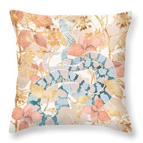 Coral Throw Pillow featuring the digital art Coral Spring Garden by Spacefrog Designs