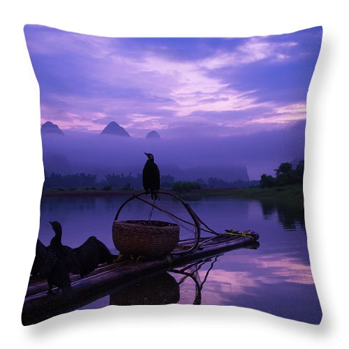 Chinese Culture Throw Pillow featuring the photograph Cormorant On Li River by Coffeeyu