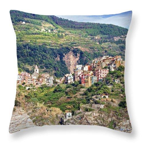 Built Structure Throw Pillow featuring the photograph Corniglia View by Ellen Van Bodegom