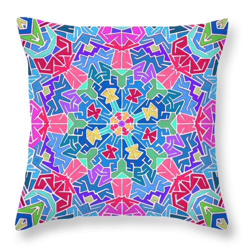 Mandala Throw Pillow featuring the digital art Cosmic Sign Post by James Fryer