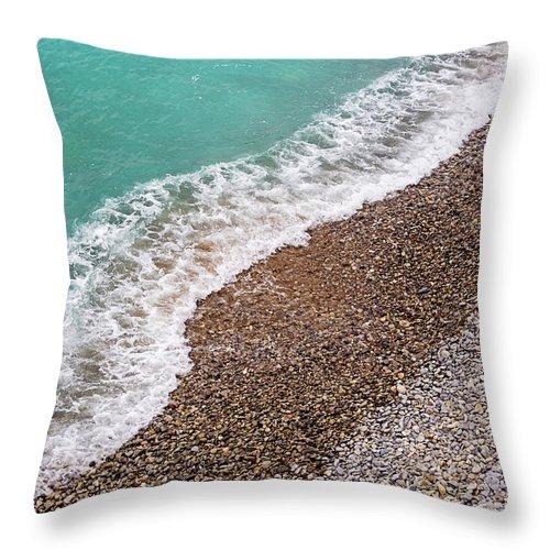 Cote D'azur Throw Pillow featuring the photograph Cote D'azur Shoreline by Melanie Alexandra Price
