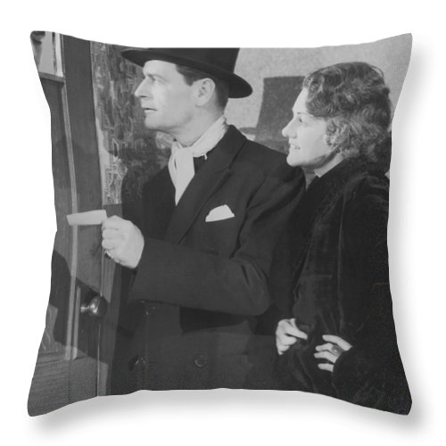 Young Men Throw Pillow featuring the photograph Couple In Formal Wear Showing Pass To by Fpg