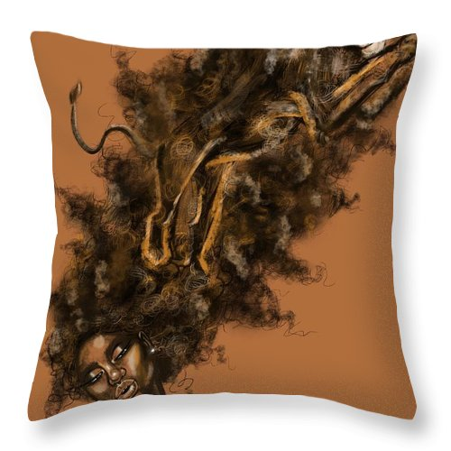 Lion Throw Pillow featuring the painting Courageous Me by Artist RiA