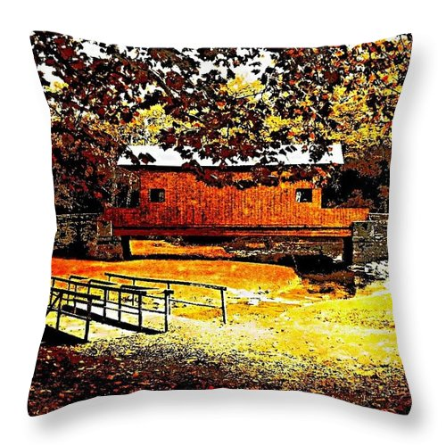 Covered Bridge Throw Pillow featuring the digital art Cover Bridge 1 by Spencer McKain