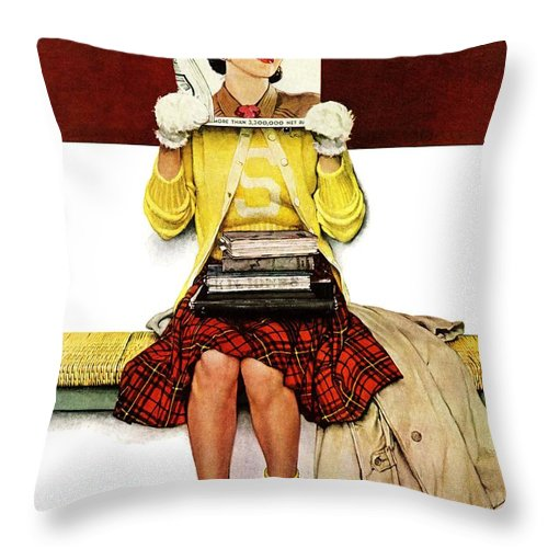 Covers Throw Pillow featuring the drawing Cover Girl by Norman Rockwell