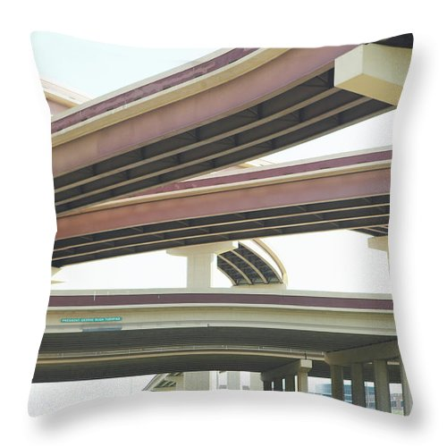 Crisscross Throw Pillow featuring the photograph Crisscrossing Freeway Overpasses by Siri Stafford