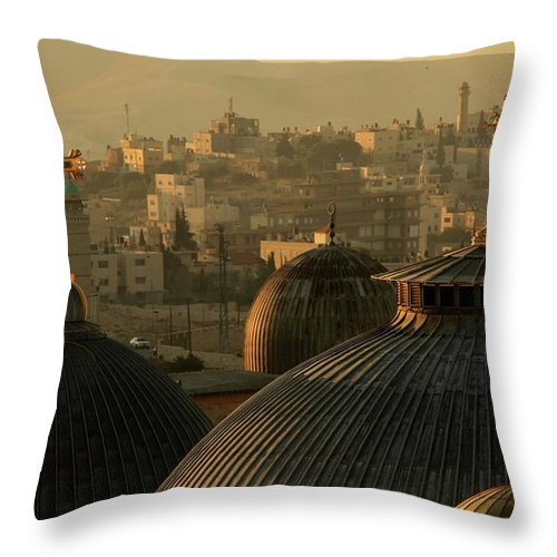 West Bank Throw Pillow featuring the photograph Crosses And Domes In The Holy City Of by Picturejohn