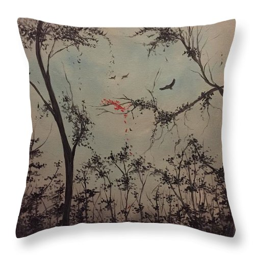 Modern Landscape Throw Pillow featuring the painting Crows by Laura Hartnett