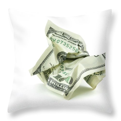 Debt Throw Pillow featuring the photograph Crumpled Money With Clipping Path by Georgepeters