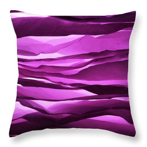 Purple Throw Pillow featuring the photograph Crumpled Sheets Of Purple Paper by Ballyscanlon